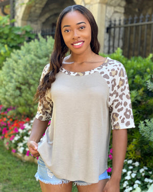 Oversized Taupe Top With 3/4 Leopard Sleeves