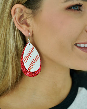 Large Faux Leather Red Glitter Baseball Earrings