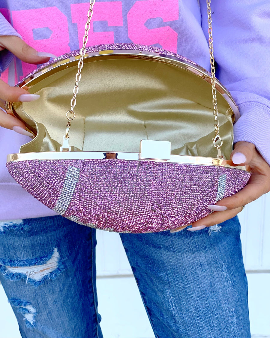 Crystal Pink Football Purse (Pre-Order)