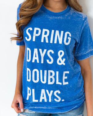 Spring Days & Double Plays Blue Acid-Dipped Tee