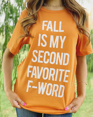Fall Is My Second Favorite F-Word – Comfy Vintage Orange Tee
