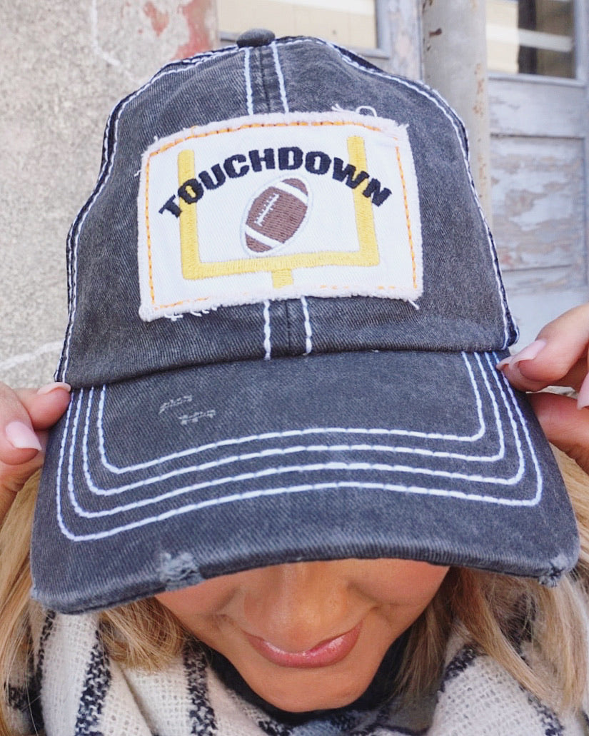 Touchdown Distressed Football Patch Cap