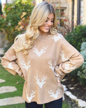 Camel Lightweight Deer Sweater