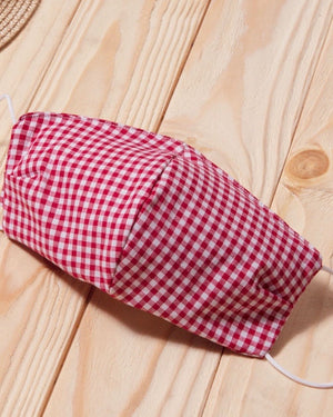 Red Gingham Cotton Fitted Daily Face Cover