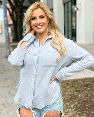 Cloud Crinkled Cool & Classic Button-Down Top