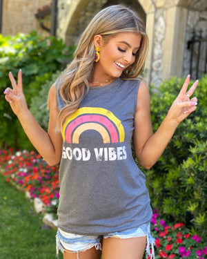 Coral Good Vibes Light Gray Tank (Pre-Order Ships 6/20)