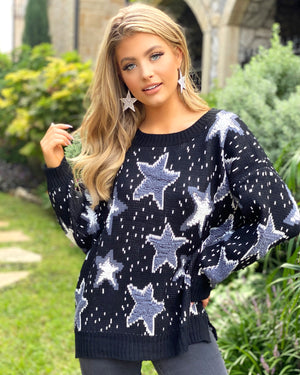 Black Cozy Star Sweater