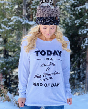 Today Is A Hockey & Hot Chocolate Kind Of Day Long-Sleeve Tee