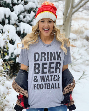 Drink Beer & Watch Football Unisex Tee
