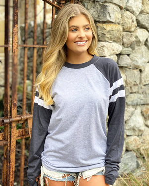 Vintage Navy & Gray Long-Sleeve Jersey Tee
