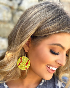 Football Suede Crystal Game Day Earrings