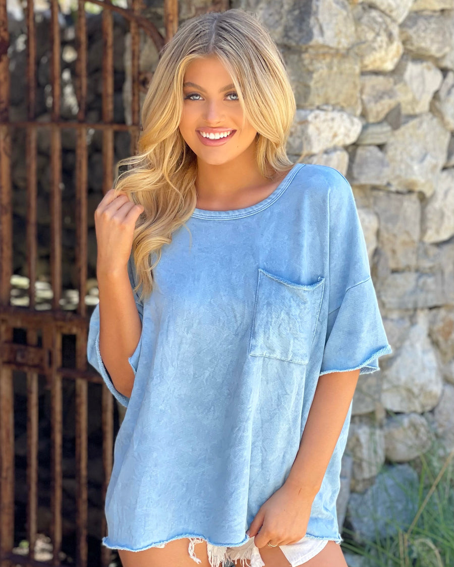 Dusty Blue Mineral-Dipped Super Soft Oversized Top