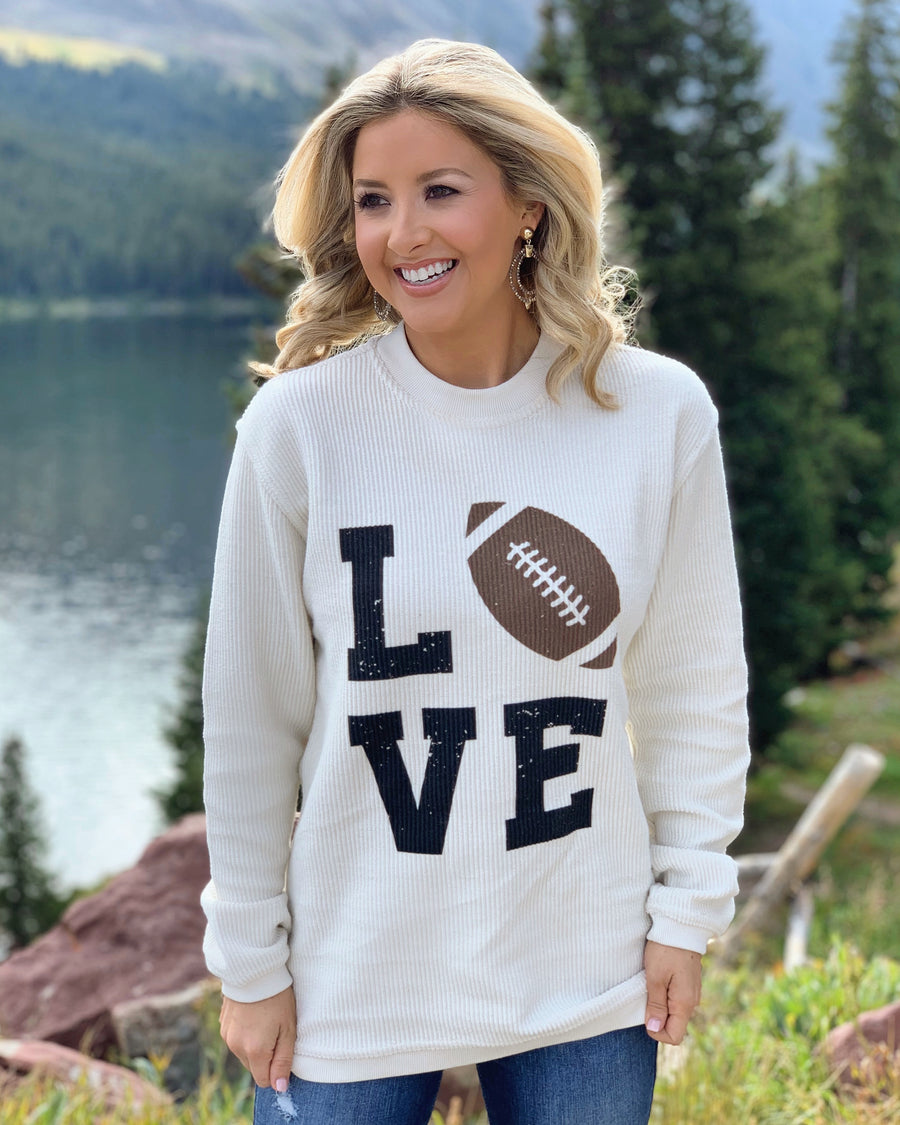 Football – LOVE – Oversized Ribbed Vintage-Washed Crew