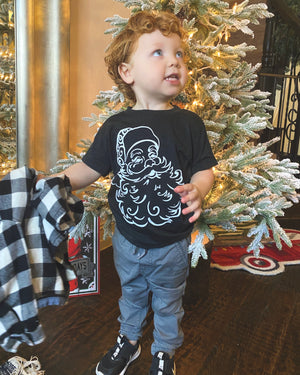 Swirly Santa Face Comfy Tee (Toddler & Youth)