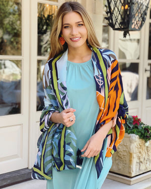 Navy & Orange Leaves Sheer Wrap With Tassels