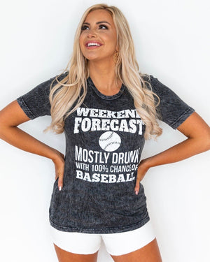 Weekend Forecast Mostly Drunk With 100% Chance Of Baseball Unisex Mineral-Dipped Tee