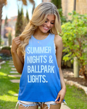 Summer Nights & Ballpark Lights™ Ombré Blue Muscle Tank