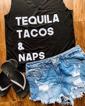 TEQUILA TACOS & NAPS Cut-Out Neckline Tank