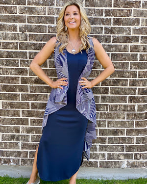 Navy Pocket Side-Slit Maxi Dress