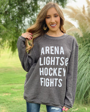 Hockey – Arena Lights & Hockey Fights – Oversized Ribbed Vintage-Washed Crew
