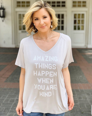 Amazing Things Happen When You Are Kind Oversized Slouchy V-Neck Top - Live Love Gameday®