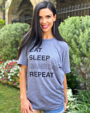 Eat Sleep Gameday Repeat Unisex Gray Tee