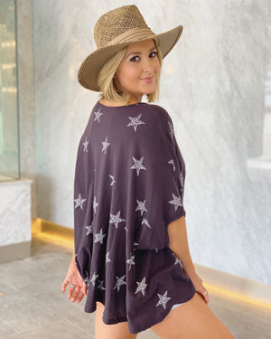 Vintage Printed Star Oversized Swing Top