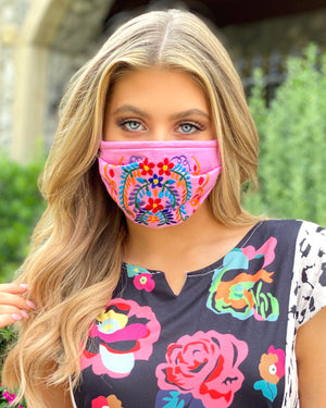 Light Pink Colorful Embroidered Floral Mask
