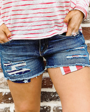 All-American Distressed Denim Shorts - Live Love Gameday®