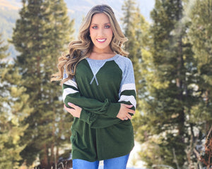 Holiday Green V-Stitched Hacci Sweater (Regular & Plus Sizes Available)