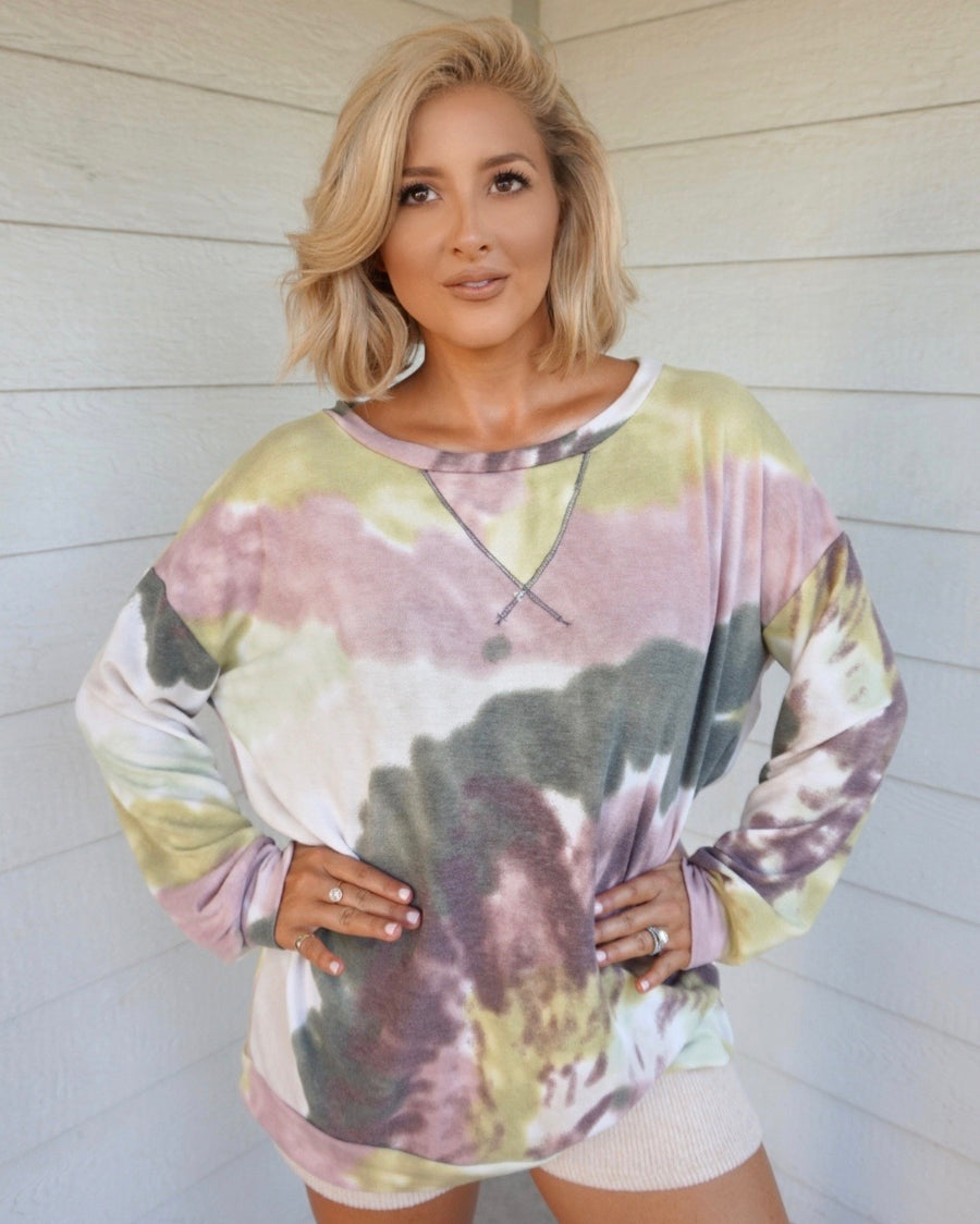 Lavender Lime Watercolor Oversized Pullover