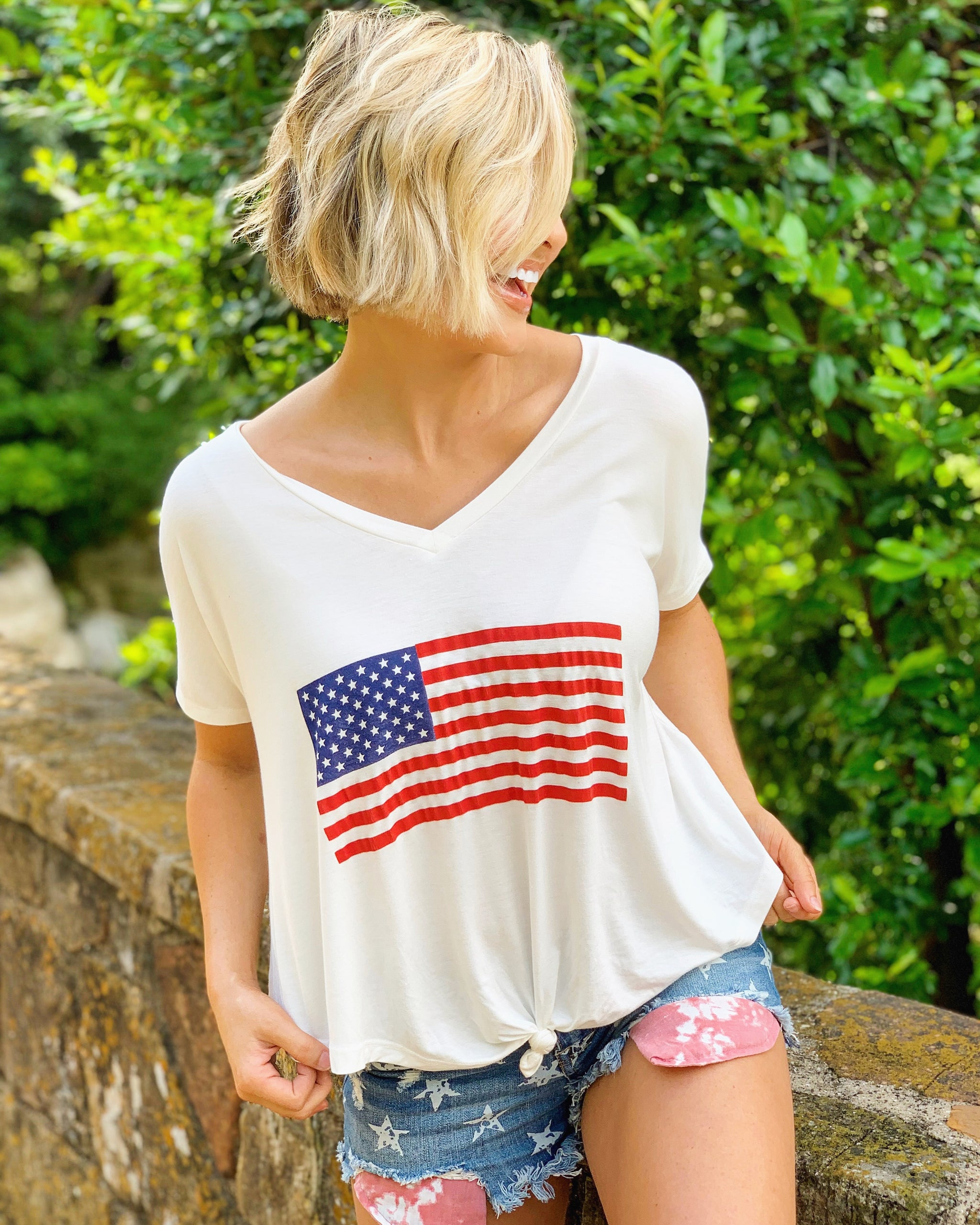 6a0cc24bd0 American Flag Long-Cropped Knot Slouchy Tee - Live Love Gameday®