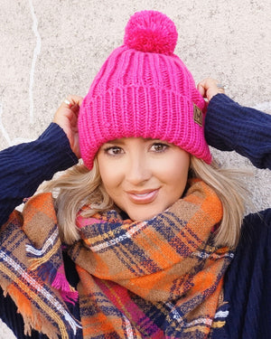 Pink Sherpa-Lined Pom Beanie