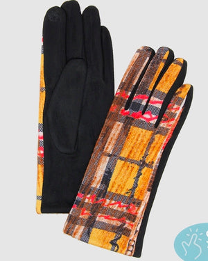 Yellow Plaid Abstract Print Gloves