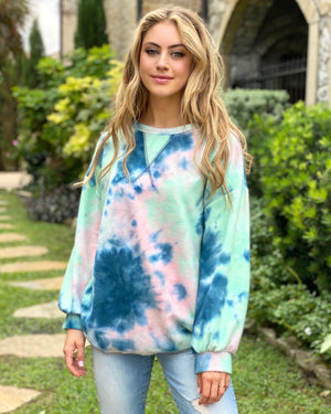Teal/Blush Oversized Multi-Color Sweater