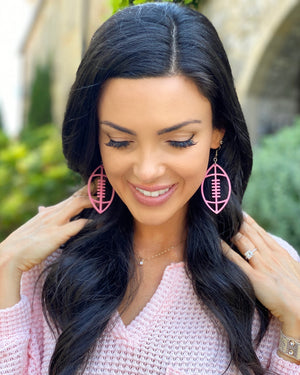 Pink Cut-Out Football Earrings
