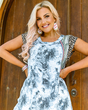 Tie-Dye & Animal Print Stitched Tunic (Pre-Order)