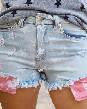 Light Denim High-Waisted Star Shorts With Tie-Dye Pockets