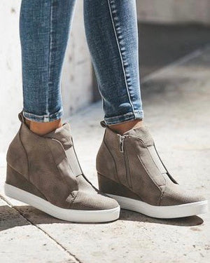 Faux Suede Wedge Sneaker (2 Colors) - Live Love Gameday®