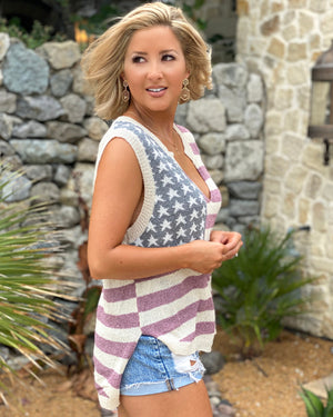 Marsala Sleeveless Knit American Flag Lightweight Sweater