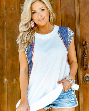 White & Leopard Stitched Tunic