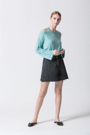 One Open Shoulder Super Soft Long-Sleeve Top (Aqua)