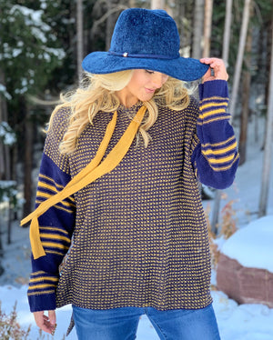 Navy & Gold Oversized Sweater