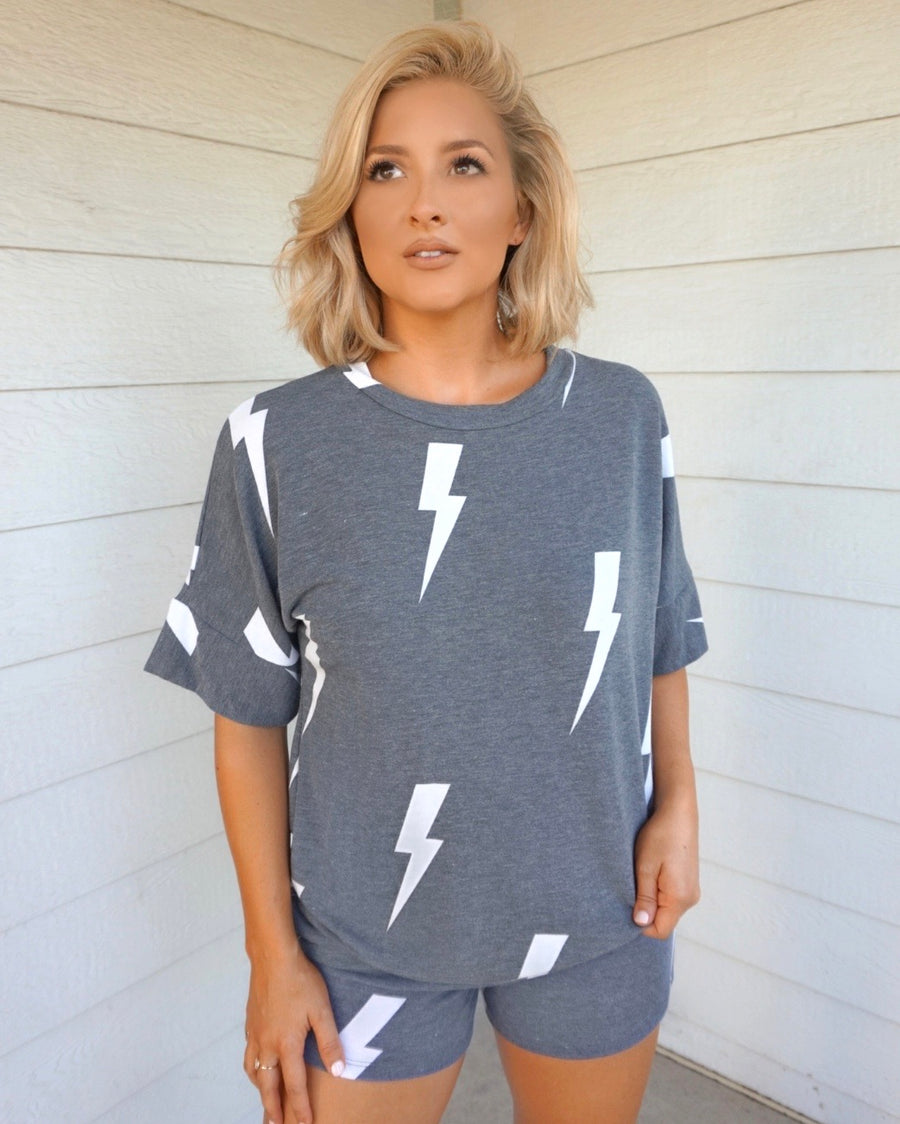 Charcoal Lightening Bolt Lounge Set