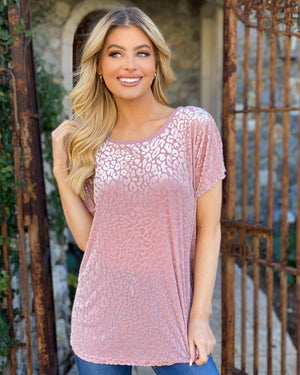 Blush Burnout Super Soft Leopard Top