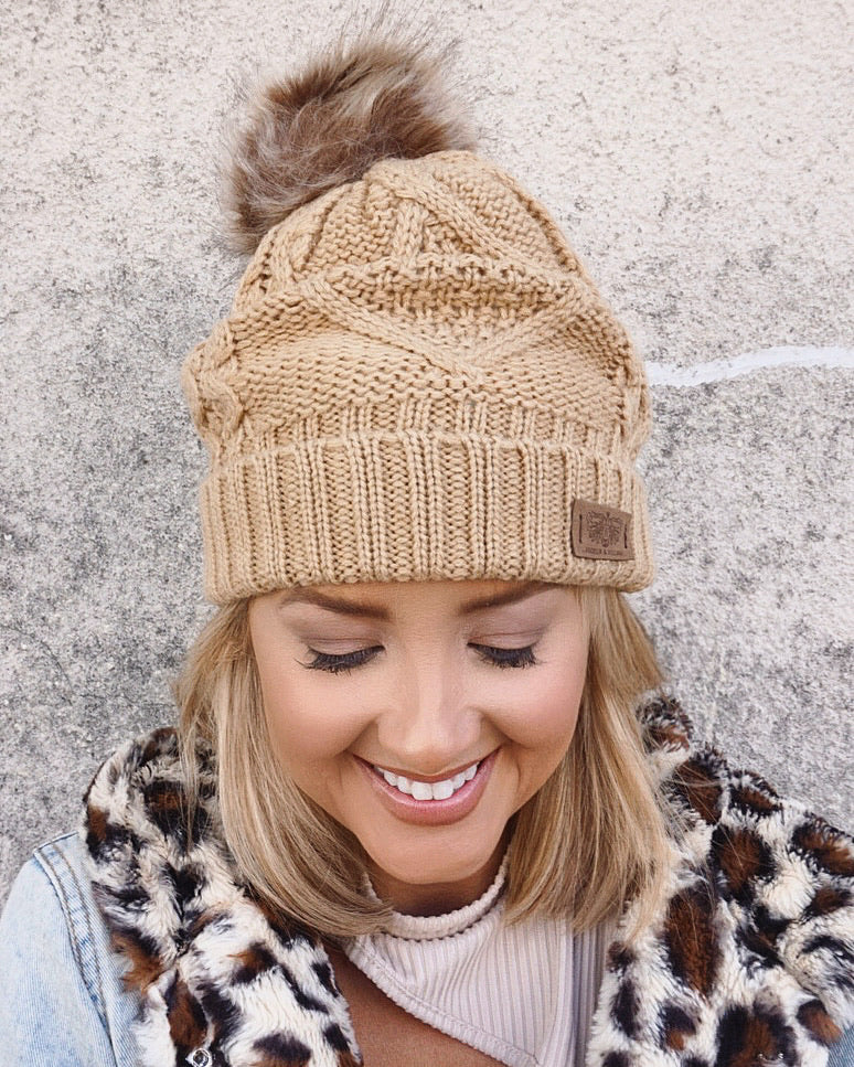 Camel Oversized Chunky Fleece Diamond Pom Beanie