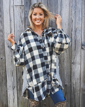 Navy Plaid Oversized Shirt Dress With Pockets