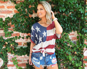 Vintage American Flag Knit Top