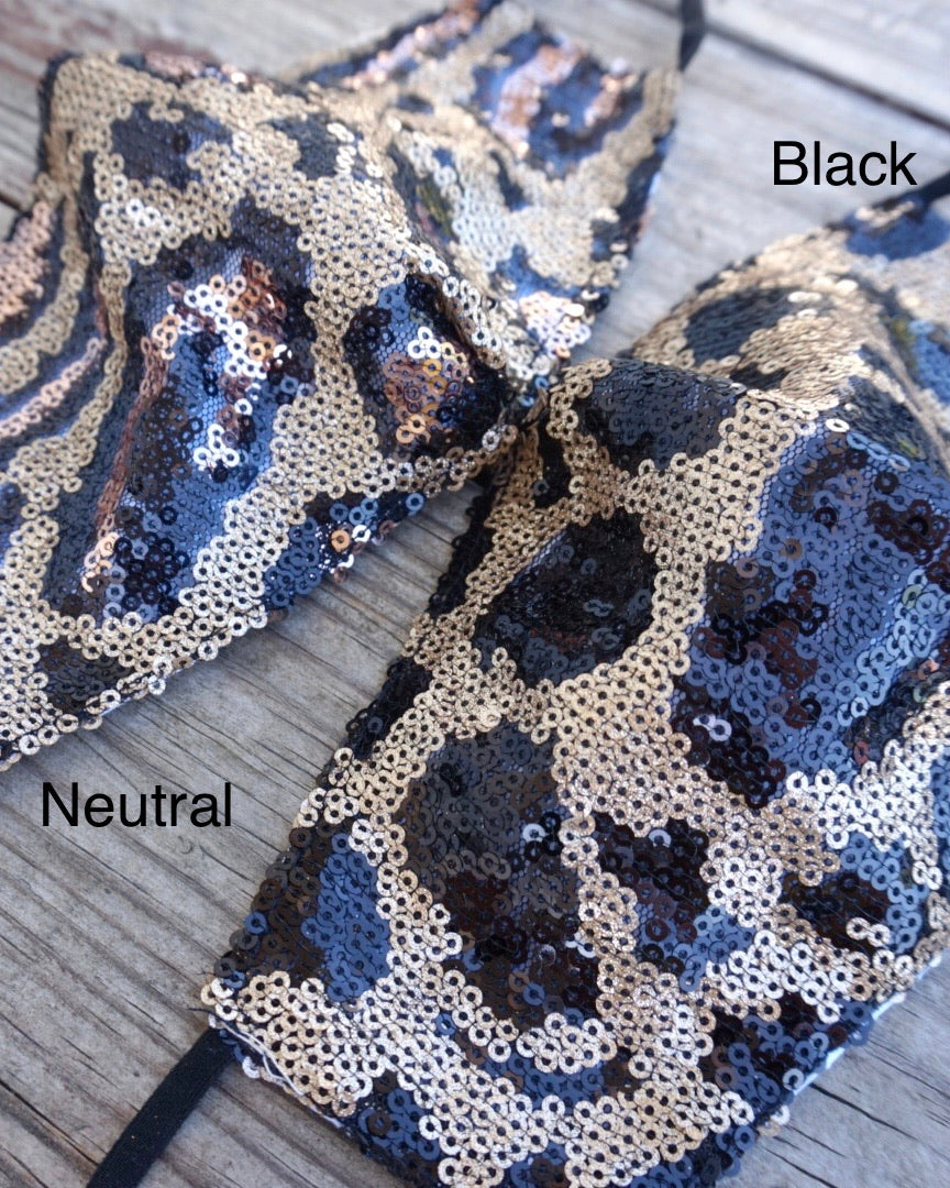 Black Animal Print Sequin Daily Face Cover
