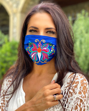 Blue Colorful Embroidered Butterfly Mask